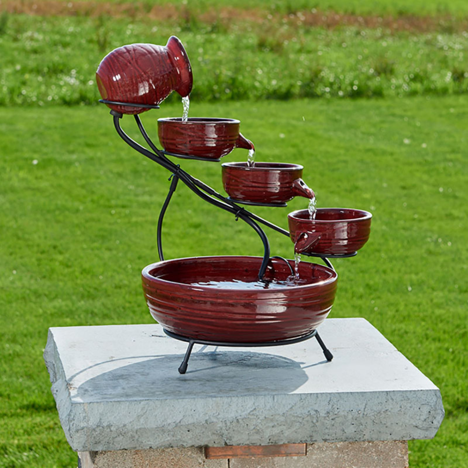 Smart Solar Red Lava Solar Ceramic Cascade Outdoor Fountain