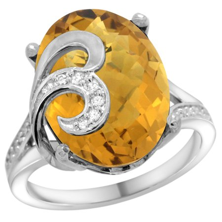 14k White Gold Natural Whisky Quartz Ring 16x12 mm Oval Shape Diamond Accent, 5/8 inch wide, size 5