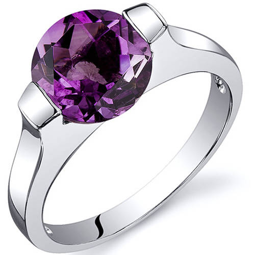 Oravo 1.75 Carat T.G.W. Amethyst Rhodium-Plated Sterling Silver Engagement Ring