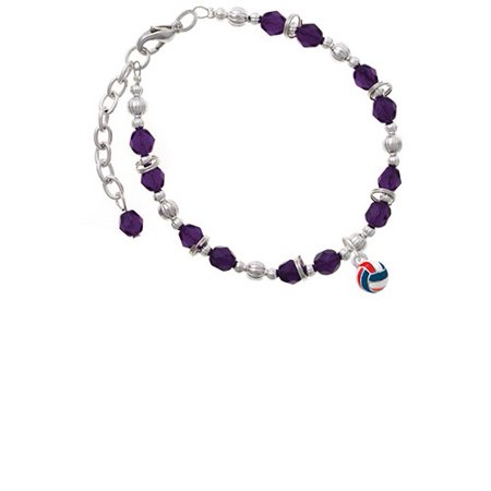 3-D Red White & Blue Volleyball Purple Beaded Bracelet - Red White And Blue Bracelet