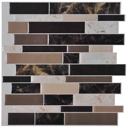 Art3d 6-Pack Peel and Stick Vinyl Sticker Kitchen Backsplash Tiles, 12