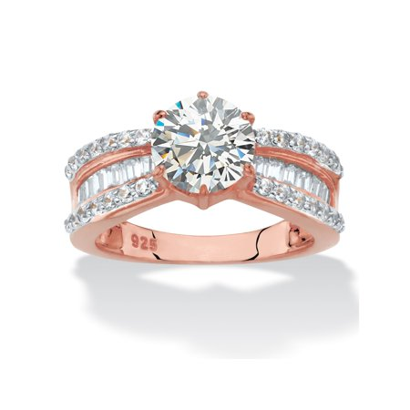 Round and Baguette-Cut Cubic Zirconia Engagement Ring 2.88 TCW in 18k Rose Gold-Plated Sterling Silver