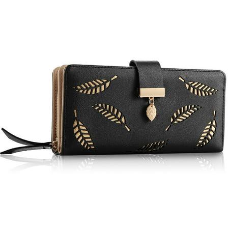 Women Wallet PU Leather Lady Long Purse Phone Clutch Case Credit Card Holder 11 Card Slots 1ID Window 5 Money Pouch Money Long Wallet