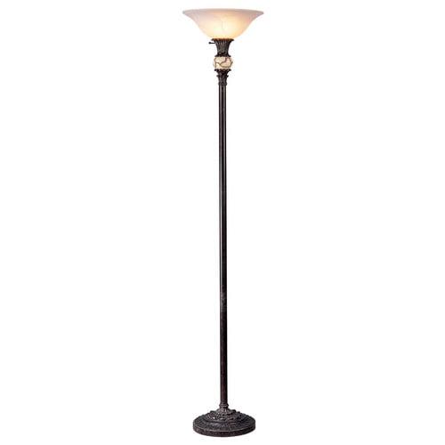 OK Lighting Torchiere Lamp, Antique Black