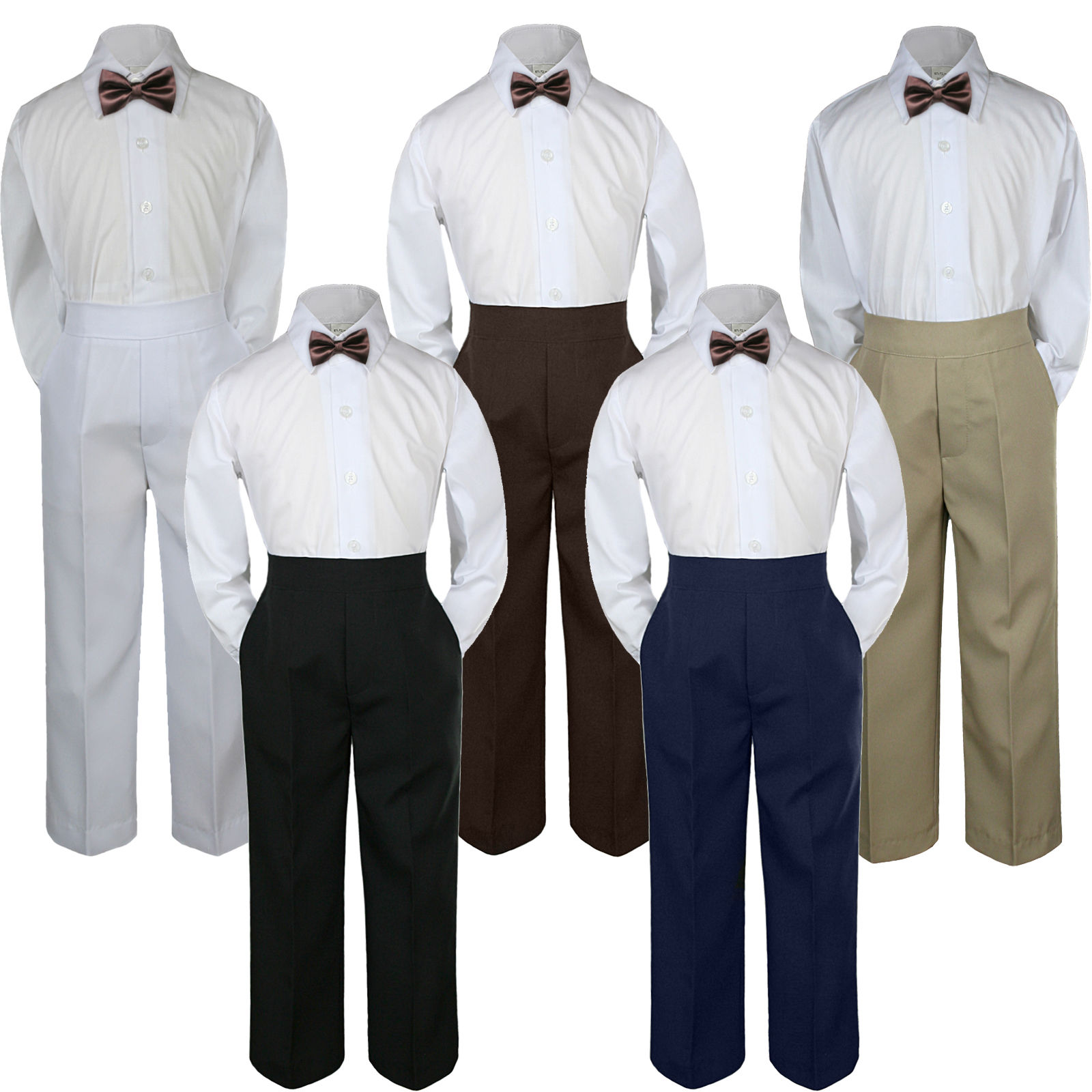 3pc Boys Baby Toddler Kids Chocolate Brown Bow Tie Formal Pants Set Suit S-7