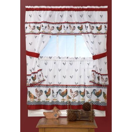 Cottage Bedroom Collection - Park Avenue Collection Top of the Morning Cottage Set - 57x24 Tier Pair/57x36 Tailored Topper with attached valance and tiebacks