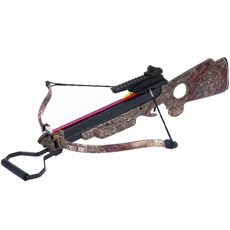 150 lb Black / Wood / Camouflage Camo Hunting Crossbow Archery Bow +7 Arrows + Rope Cocking Device 180 80 50 lbs thumbnail