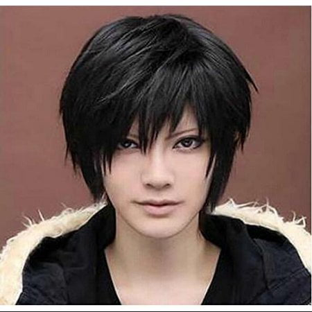 Black Short Wigs Straight Toupee Hair Wig for Women Men Halloween Cosplay Party Costume - Men Wigs