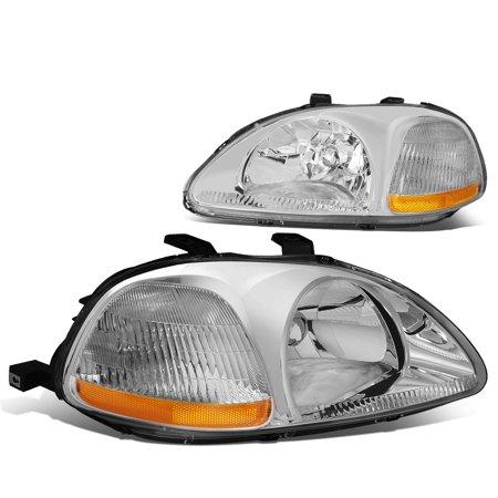 For 96-98 Honda Civic Headlights with Corner Lamps & Amber Reflector (Chrome Housing) - EJ EM EK 97 ()