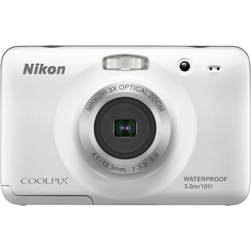 "Nikon CoolPix S30 White 10.1MP Digital Camera w/ 3x Optical Zoom, 2.7"" LCD Display, Waterproof"