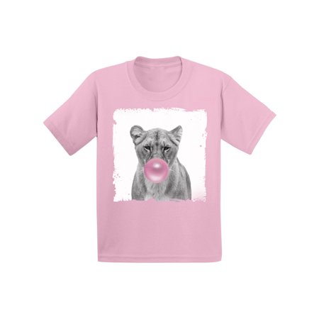 Awkward Styles Funny Lion with Gum Lion Clothing Lion Lovers Funny Gifts for Kids Childrens Outfit Lion Tshirt Lion Toddler Shirt Toddler T Shirt Kids Outfit New Animal Collection Pink Bubble Shirt