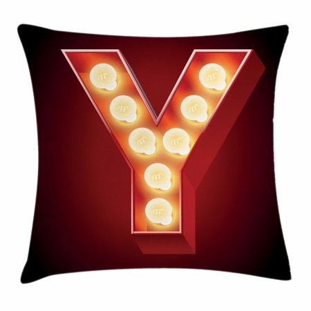 Letter Y Throw Pillow Cushion Cover  Casino Nightclub Inspired Alphabet Typography Entertainment Retro Y  Decorative Square Accent Pillow Case  16 X 16 Inches  Vermilion Yellow Black  By Ambesonne