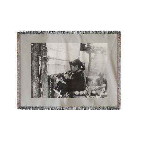 Navajo Woman Weaving a Blanket Photograph (60x80 Woven Chenille Yarn