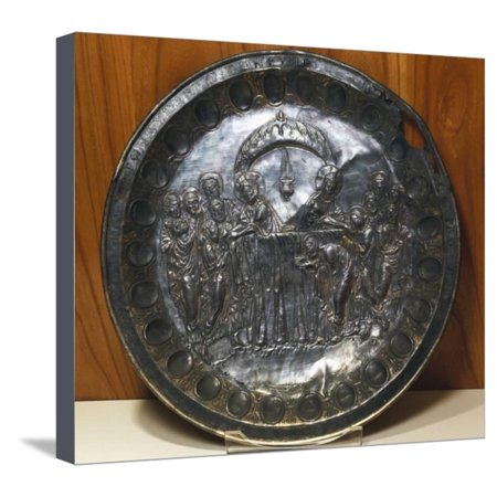 Silver Plate Depicting the Last Supper, from Aleppo, Syria, Byzantine Civilization, 5th Century Stretched Canvas Print Wall (Last Supper Collector Plate)
