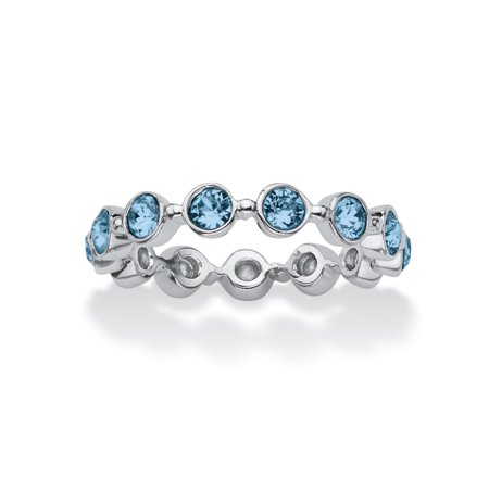 Round Birthstone Crystal Stackable Eternity Ring in .925 Sterling Silver - March- Simulated Aquamarine