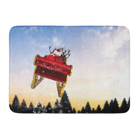 GODPOK Father Red Reindeer Santa Flying His Sleigh Against Snow Falling on Fir Tree Forest Christmas Winter Rug Doormat Bath Mat 23.6x15.7 inch ()
