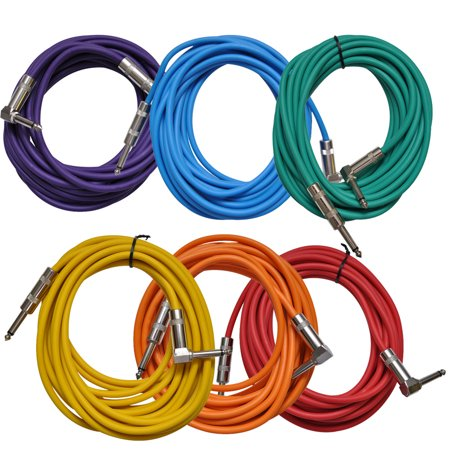 Seismic Audio 6 Pack of Colored 20 Foot Right Angle to Straight Guitar Instrument Cables Multi-Colors - SAGC20R-BRPGYO