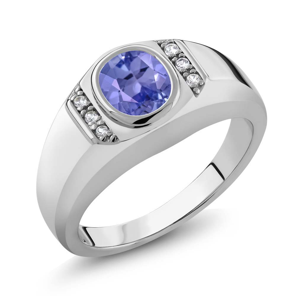 1.22 Ct Oval Blue Tanzanite White Created Sapphire 925 Silver Men's Ring by