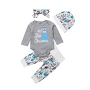 My 1st Christmas Newborn Infant Baby Boy Girl Clothes Romper Leggings Outfits