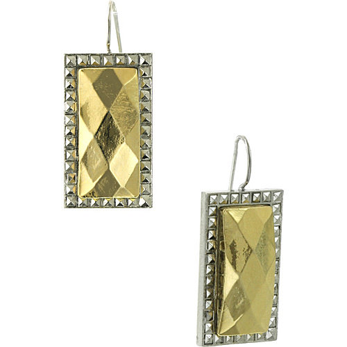 Laundry Silver-tone w/Simulated Gold-tone Stone Dangle Earrings