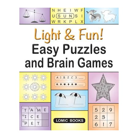 Light & Fun! Easy Puzzles and Brain Games : Includes Word Searches, Spot the Odd One Out, Crosswords, Logic Games, Find the Differences, Mazes, Unscramble, Sudoku and Much - Fun And Easy Halloween Games