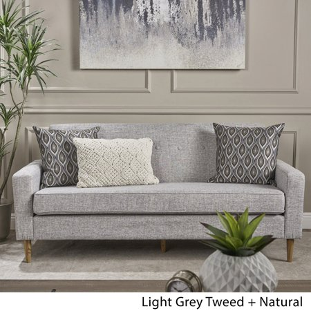Christopher Knight Home Sawyer Mid-century Modern 3-seater Fabric Sofa by  light grey tweed + natural