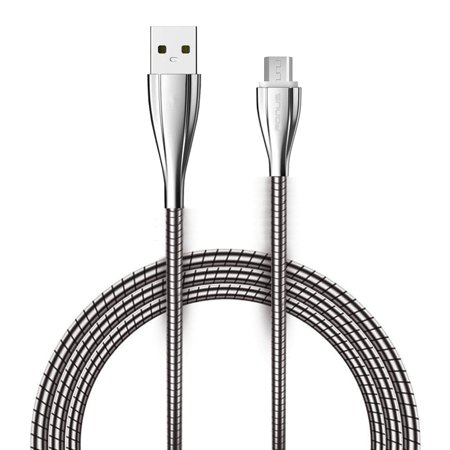 6ft Long USB Cable Charger Power Sync Cord Metal Braided Micro-USB Wire [Zinc Alloy Connectors] [Fast Charge] N5V Compatible With Motorola Droid Turbo 2 Maxx 2 - Samsung Galaxy Sky, S7