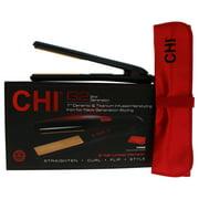 CHI G2 Ceramic Titanium Infused Hairstyling Flat Iron - Model # GF1595 - Black - 1 Inch Flat Iron