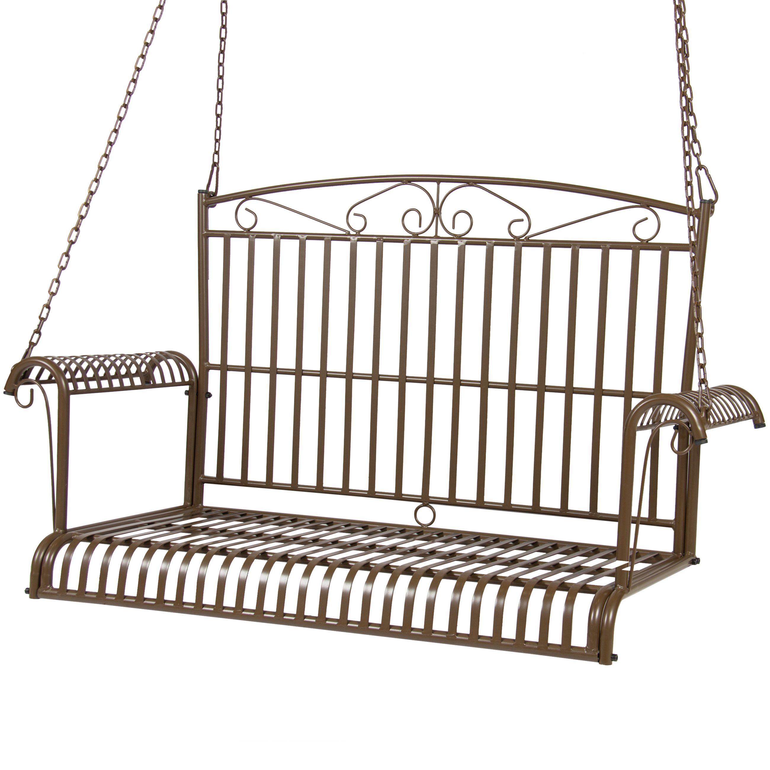 Best Choice Products BCP Iron Patio Hanging Porch Swing Chair Bench Seat Outdoor Furniture