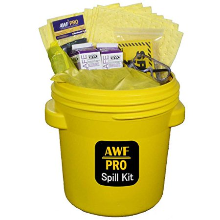 """Overpack Spill (20 Gallon Battery Acid Spill Kit Includes DOT Overpack Drum, Acid Neutralizer, 40 Pads 15""""x19"""", 3 Socks 3""""x4', 3 Pillows 18""""x18"""", Chemical Gloves, 3 Hazmat Bags, Safety Goggles, Spill Kit Sign )"""