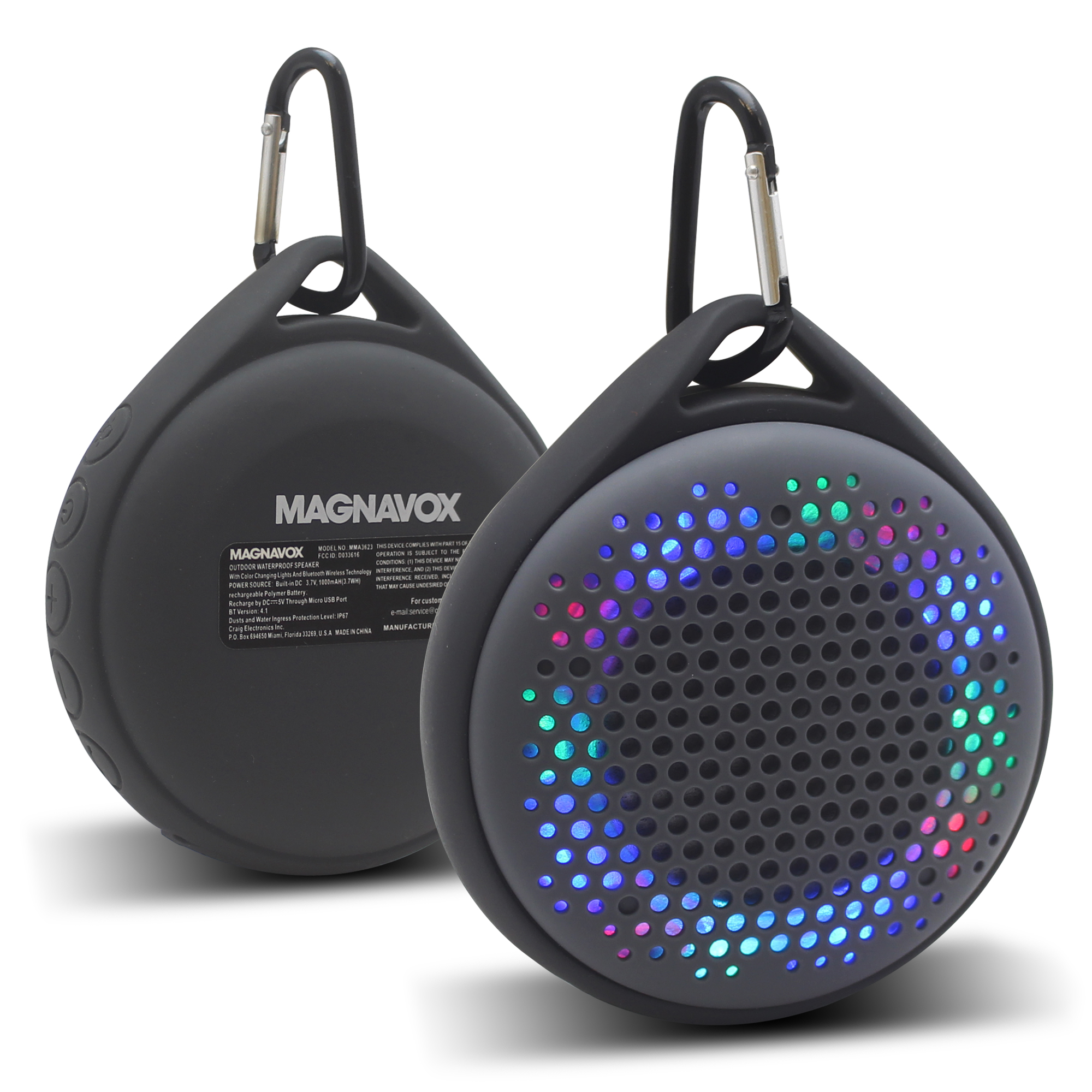Waterproof Outdoor Bicycle Riding Hiking Wireless Bluetooth Speaker LED Grey PS