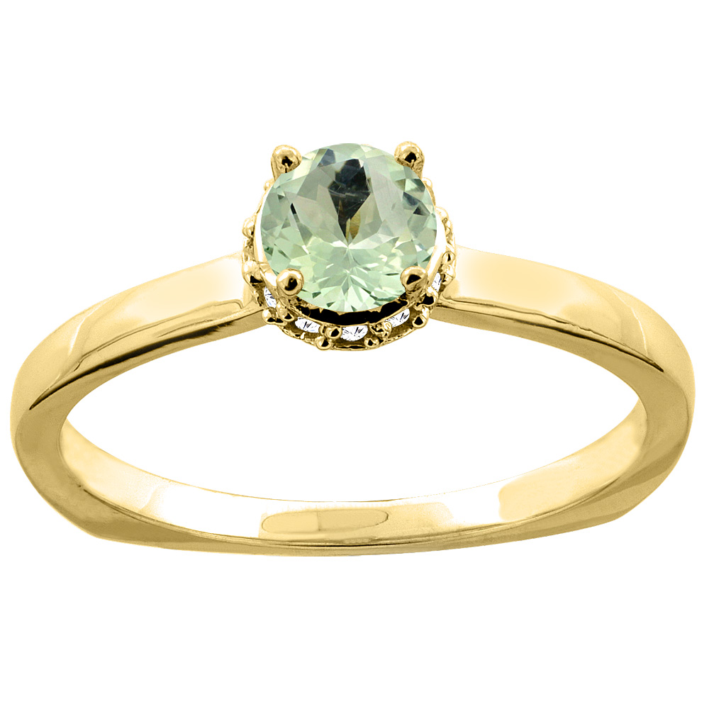 10K Gold Natural Green Amethyst Solitaire Engagement Ring Round 4mm Diamond Accents, sizes 5 - 10