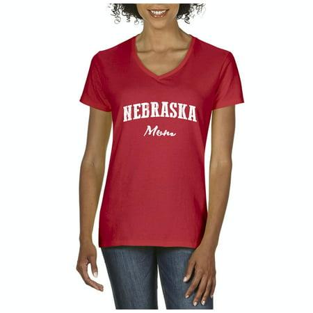 Party America Omaha Ne (Artix NE Mom Nebraska Flag Omaha Map Cornhuskers Home of University of Nebraska Women's V-Neck T-Shirt Tee)