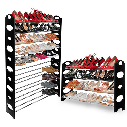 OxGord Shoe Rack Storage Organizer, Portable, Holds up to 50 Pairs of Shoes, Adjustable, Stackable up to 10 tiers
