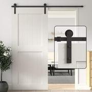 WINSOON 4FT Single Sliding Barn Door Hardware Track Kit Black Finish Basic I Style
