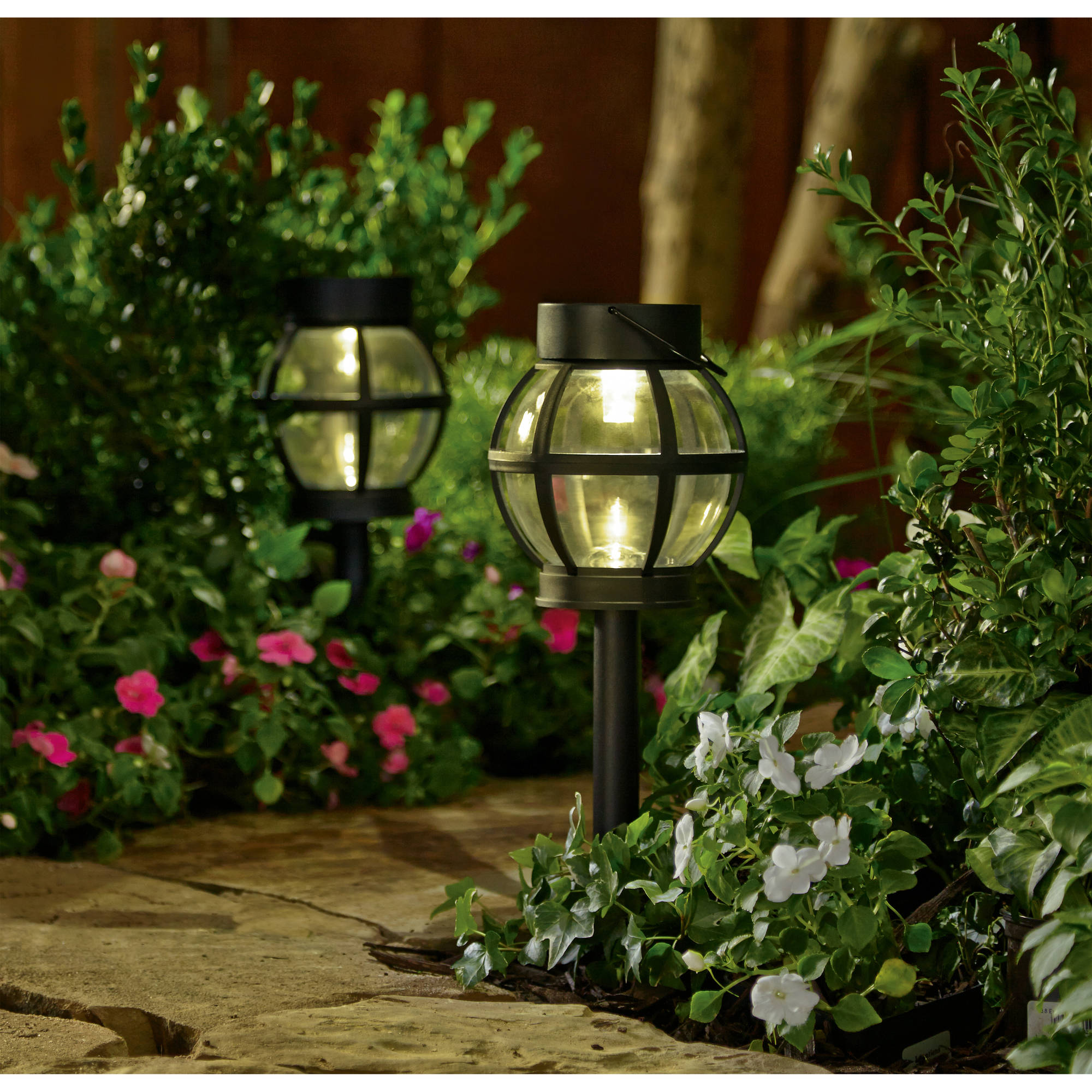 Better Homes and Gardens 2 Piece Solar-Powered Landscape Lighting Set