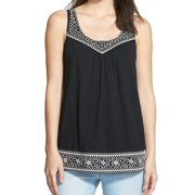 Caslon NEW Black Women's Size Large L Embroidered Trim Scoop Neck Tank