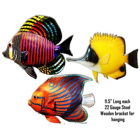 Tropical Set Of 3 Fishes Laser Cut Out Metal  Signs 11.5