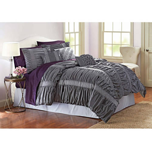 Better Homes and Gardens 7 - Piece Embroidered Ruching Full Bedding Comforter Set