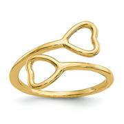 14K Yellow Gold Double Heart Toe Ring