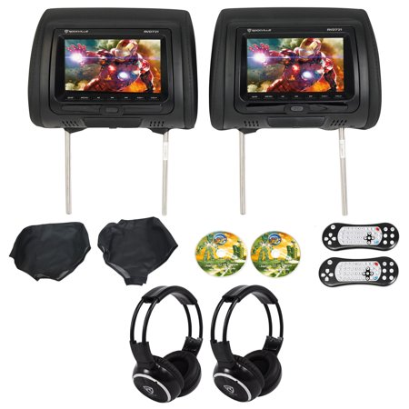 "Rockville RVD721-BK 7"" Dual DVD/USB/HDMI/SD Car Headrest"