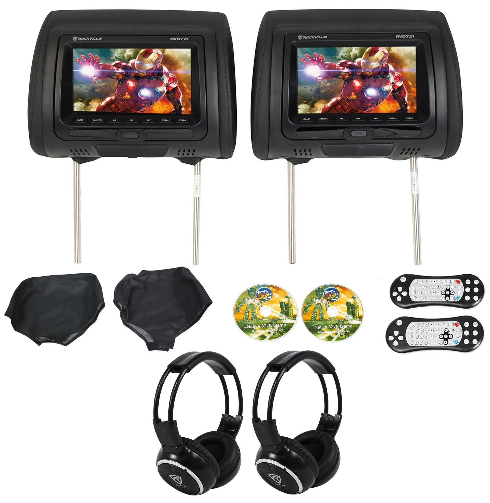 "Rockville RVD721-BK 7"" Dual DVD/USB/HDMI/SD Car Headrest Monitors+Games+Headsets"