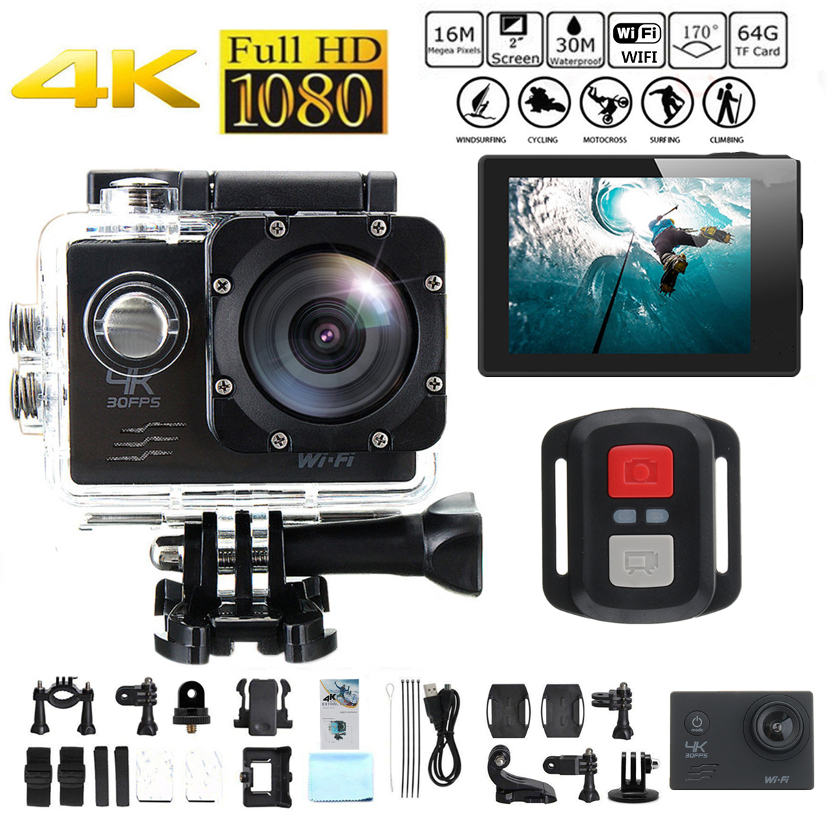 "4K SJ8000R 2"" LCD Screen Waterproof Remote Wifi Sport Action Camera Sport Camcorders DV 1080P HD Cam DVR"