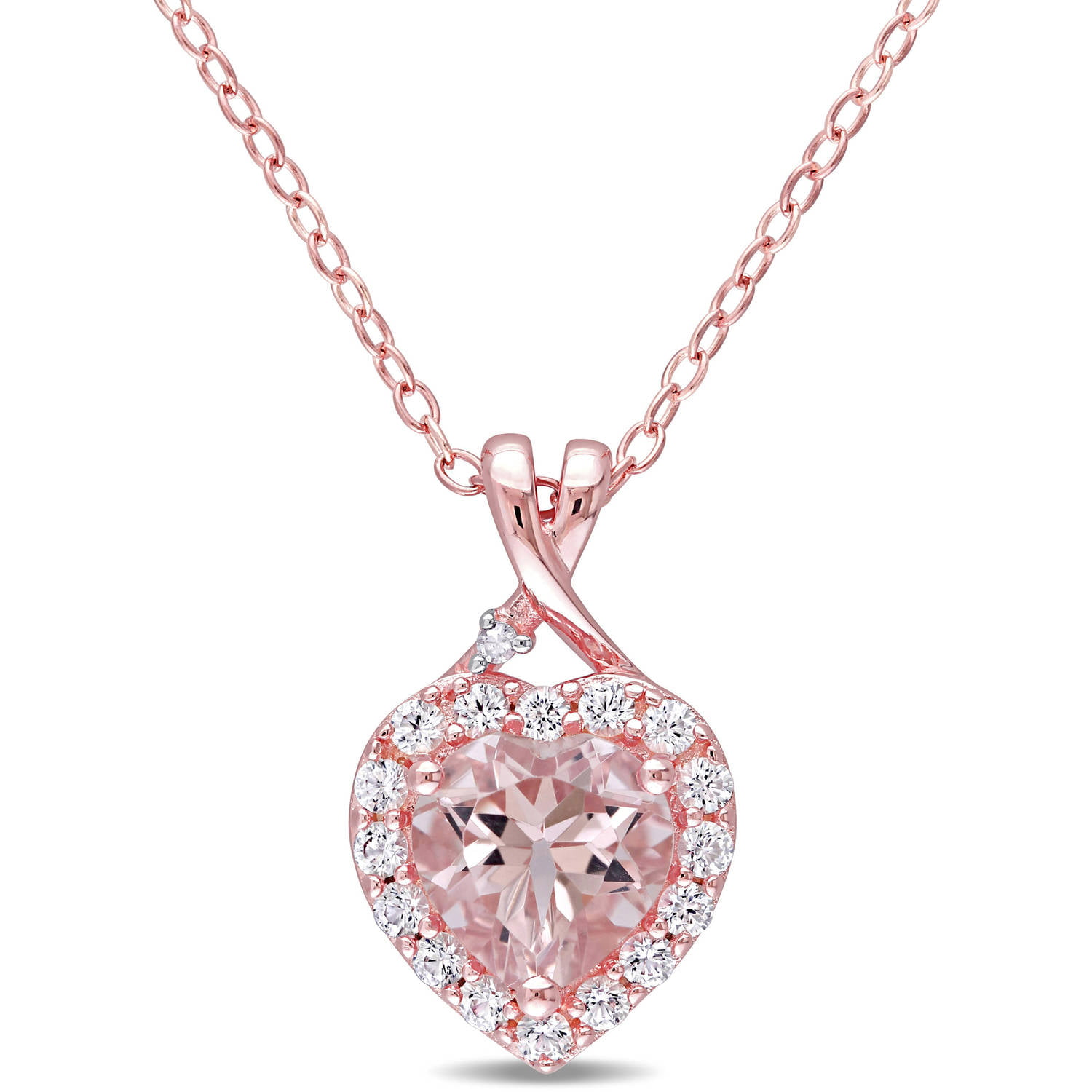Tangelo 1-2 5 Carat T.G.W. Morganite and Created White Sapphire with Diamond-Accent Rose Rhodium-Plated Sterling Silver... by Tangelo