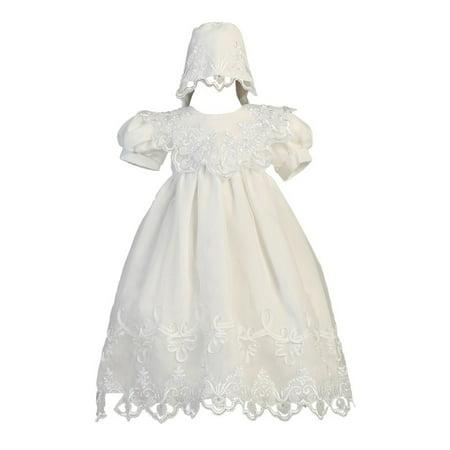 Baby Girls White Embroidered Organza Gown Bonnet Christening Set