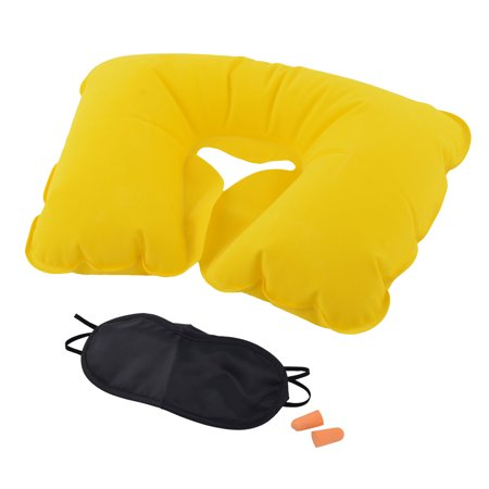 Home U Shape Pillow Stress Relief Inflatable Eyes Mask Earphone Yellow 3 in 1 Anti Stress Silk Eye Pillow
