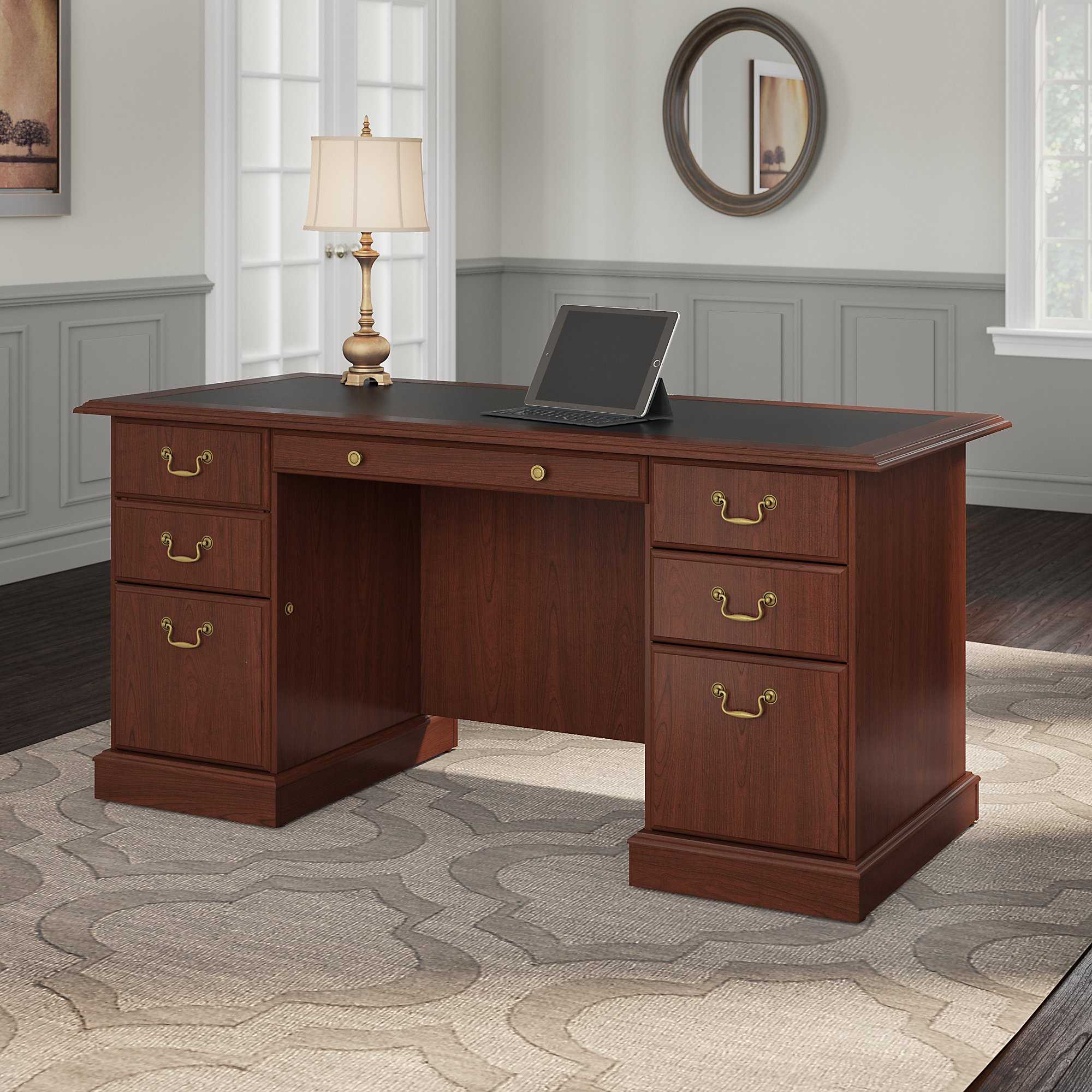 Superb Bush Furniture Saratoga Executive Desk In Harvest Cherry And Black
