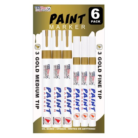U.S. Art Supply Set of 6 Gold Oil Based Paint Pen Markers, 3 Medium and 3 Fine Point Tips - Permanent Ink