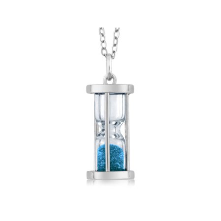 Blue Topaz Pendant 18' Chain - Sterling Silver Hourglass Pendant with 0.75 Ct Blue Topaz Dust 18