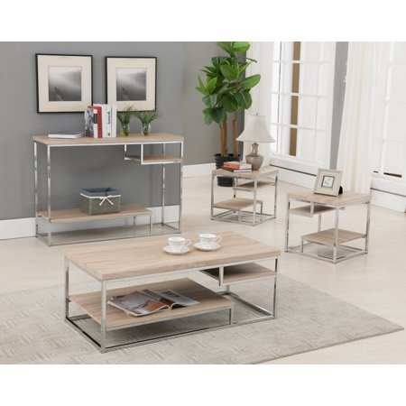 3 Piece Chrome & Natural Top Occasional Cocktail Coffee & 2 End Tables Set With Storage